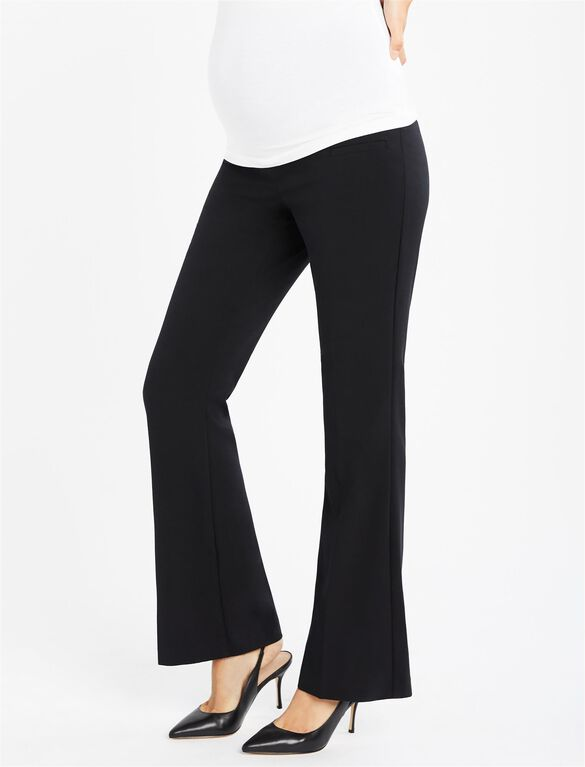 Secret Fit Belly Bi-stretch Suiting Flare Leg Maternity Pants, Black