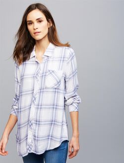 Rails Hunter Maternity Shirt, White Plaid