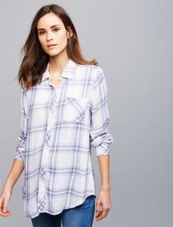 Rails Button Front Maternity Shirt, White Plaid