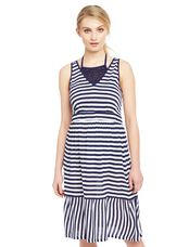 Ruffle Hem Maternity Swim Coverup, Navy/White Stripe