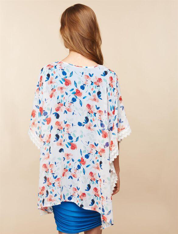Lace Trim Maternity Kimono- Floral, White Floral