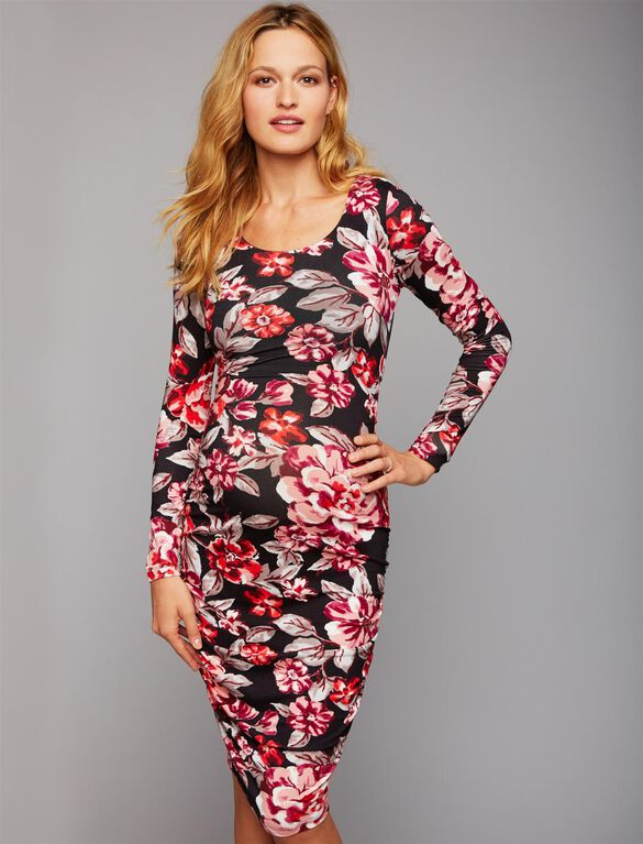 Floral Side Ruched Maternity Dress, Red Floral