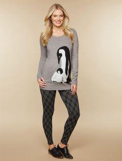 Under Belly Maternity Leggings, Black/Grey Plaid