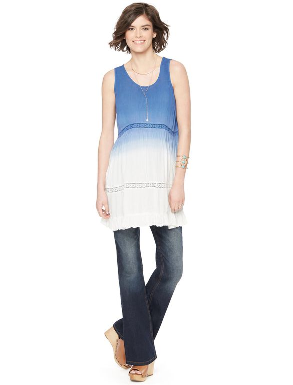 Wendy Bellissimo Lace Inset Maternity Tank, Blue