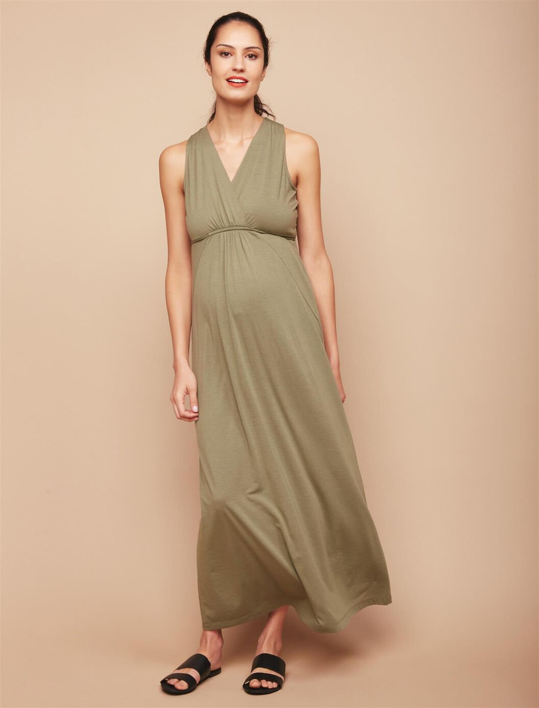 Surplice Neckline Maternity Maxi Dress- Green at Motherhood Maternity in Victor, NY | Tuggl