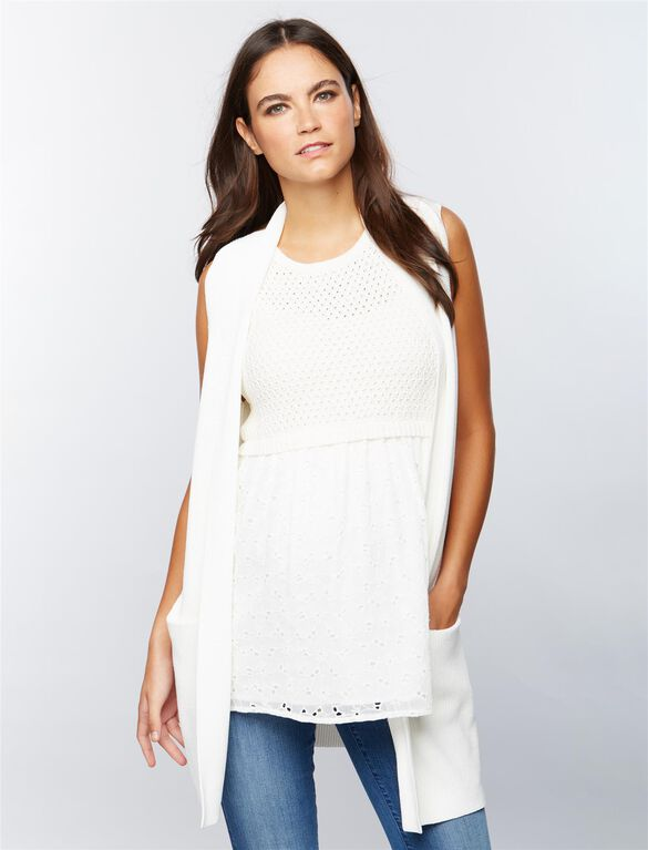 Rib Knit Maternity Sweater Vest, Soft White