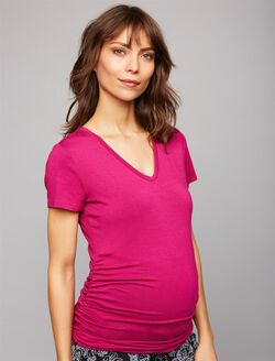 V Scoop Neck Side Ruched Maternity Tee- Solid, Pink