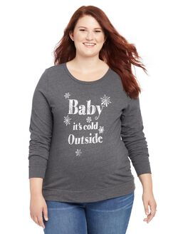 Plus Size Baby It's Cold Maternity Sweater, Black
