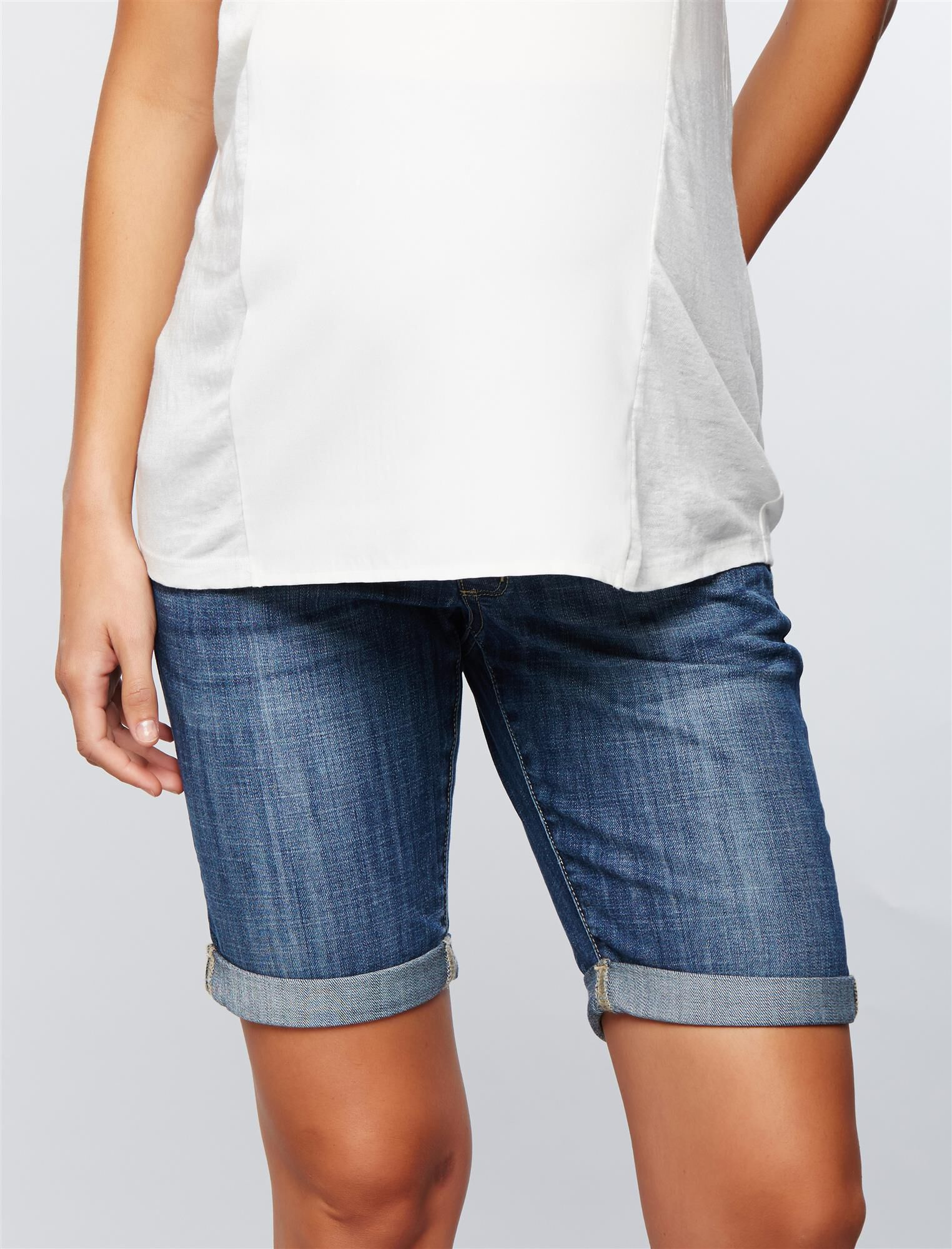 Luxe Essentials Denim Secret Fit Belly Maternity Bermuda Shorts