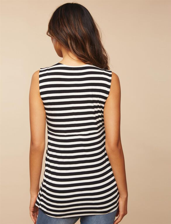 Side Access Ruched Nursing Top, Black/White Stripe