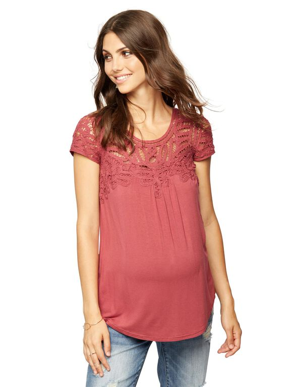 Daniel Rainn Button Detail Maternity T Shirt, Antique Rose