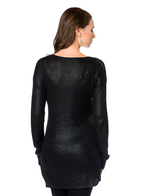 Willow & Clay High-low Hem Maternity Sweater, Black Foil