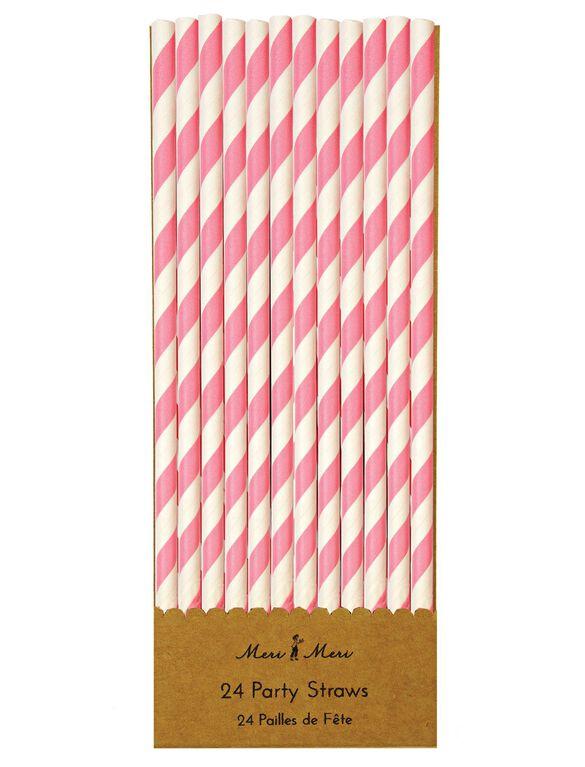 Meri Meri Paper Straws, Pink/White