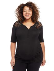 Plus Size Lace Shoulder Maternity Shirt, Black