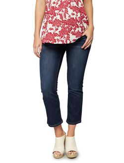Luxe Essentials Denim Secret Fit Belly Cropped Flare Maternity Jeans, Dark Wash