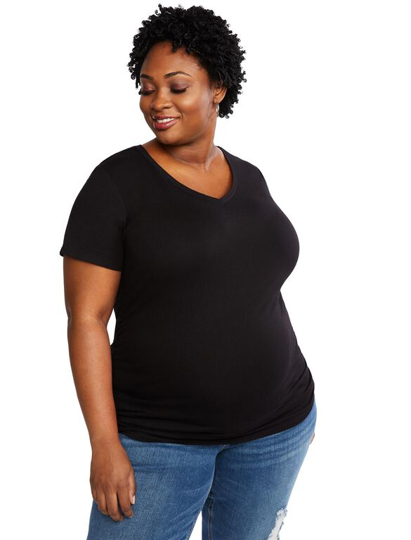 Plus Size Side Ruched Maternity T Shirt, Black