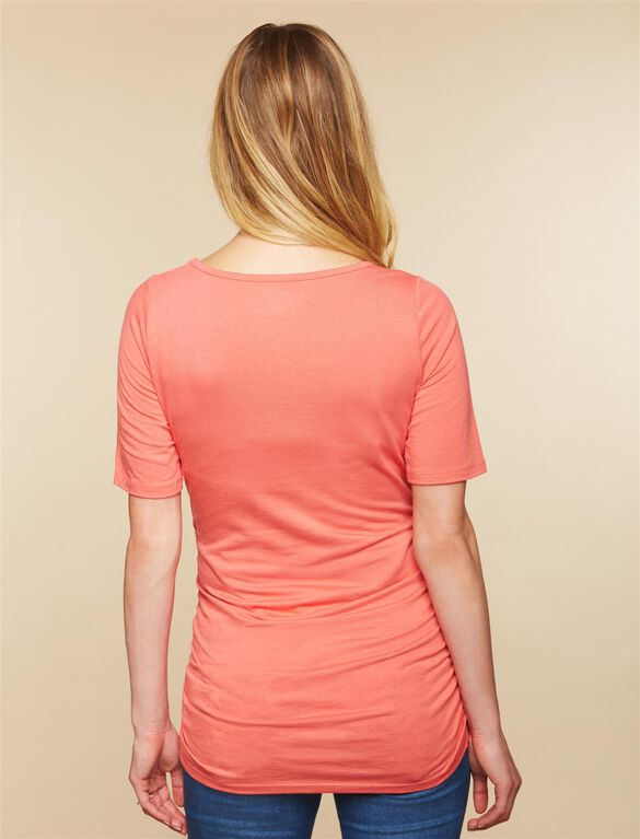 Elbow Sleeve Side Ruched Maternity Tee- Solid, Sunset