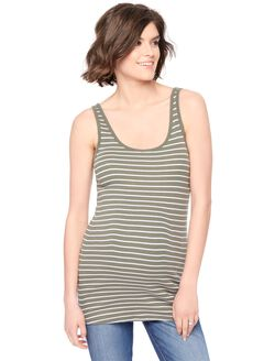 Rib Knit Maternity Tank Top, Green White Stripe