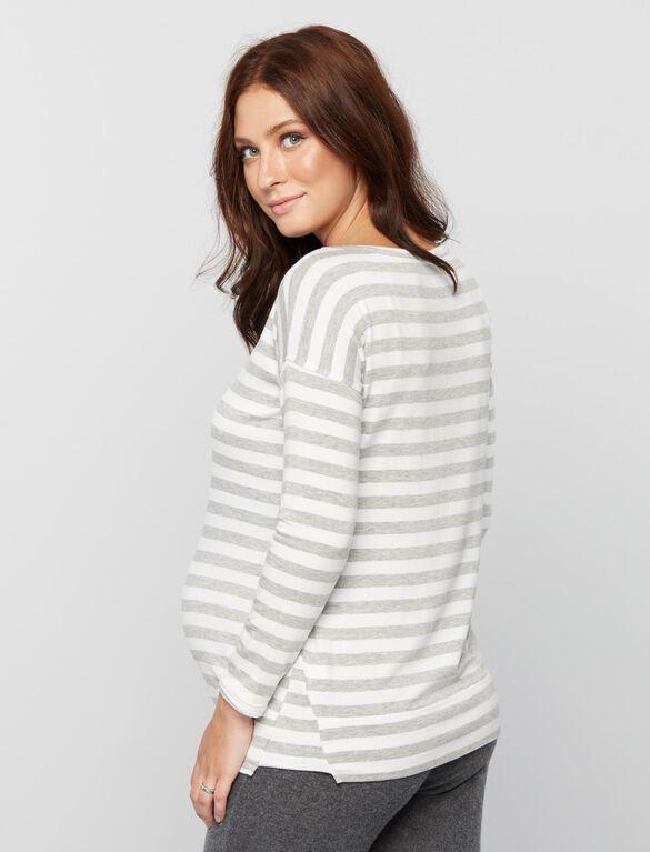 Striped Maternity Sweatshirt, White Stripe