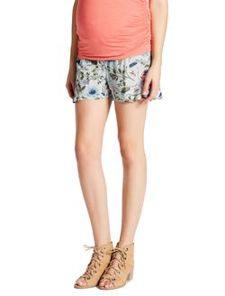 Jessica Simpson Under Belly Smocked Waist Maternity Shorts, Floral Print