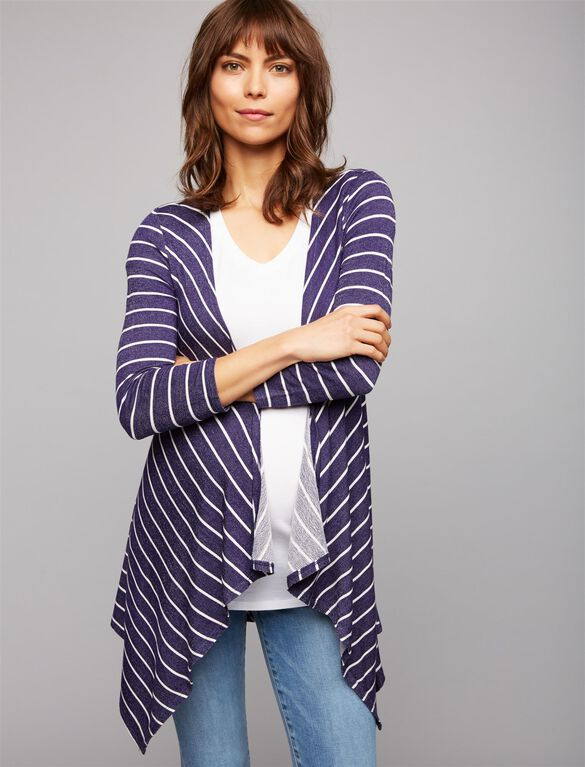 Striped French Terry Maternity Cardigan, Navy/White Stripe