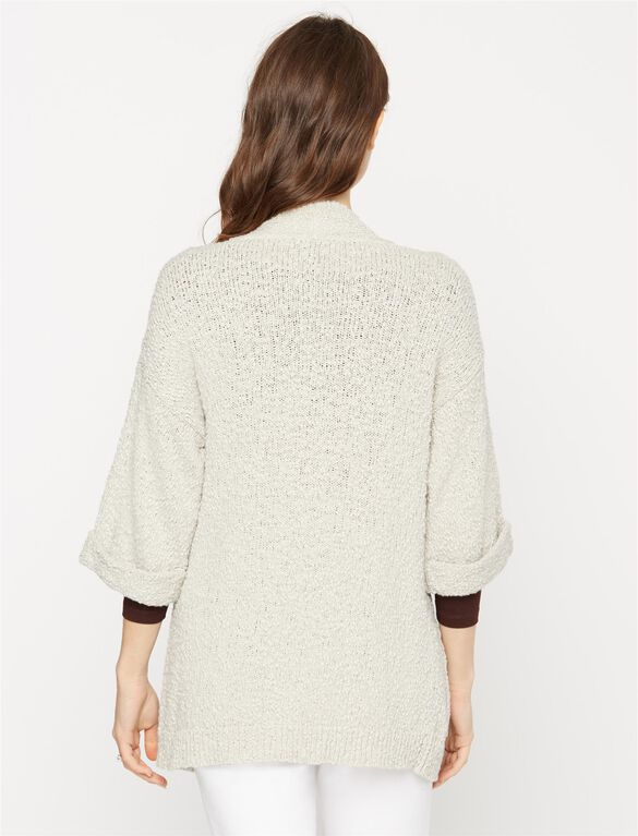 Drop Shoulder Maternity Cardigan, Soft Clay