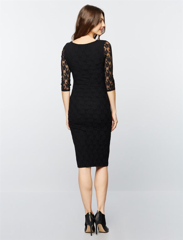 Isabella Oliver Hudson Lace Maternity Dress, Caviar Black