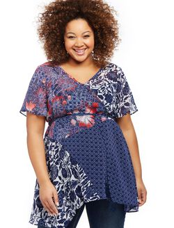 Jessica Simpson Plus Size Mix Print Maternity Blouse, Blue Floral Geo