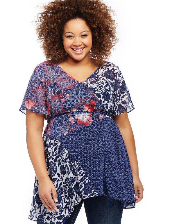 Jessica Simpson Plus Size Mix Print Maternity Blouse, Blue Floral Geo