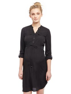 Tie Detail Maternity Shirt Dress, Black