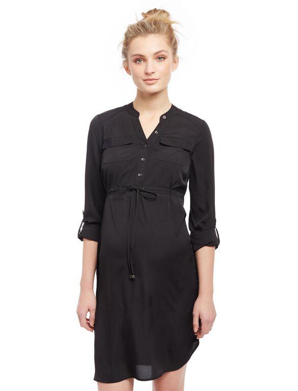 Tie Detail Maternity Shirt Dress, Black