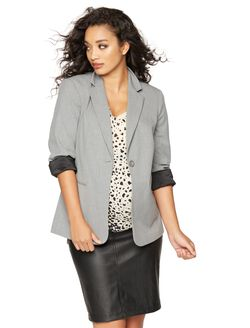 Tailored Bi-stretch Suiting Maternity Jacket, Light Gray