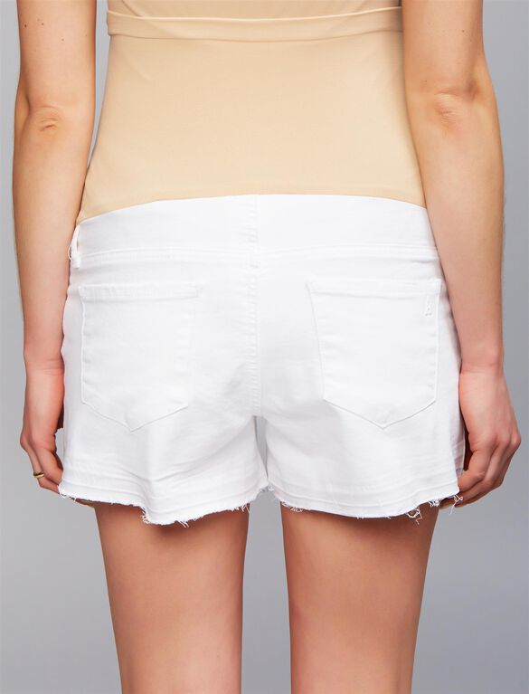 Articles Of Society Secret Fit Belly Fray Hem Maternity Shorts, White
