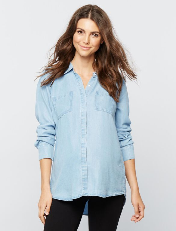 Splendid Chambray Maternity Shirt, Light Wash