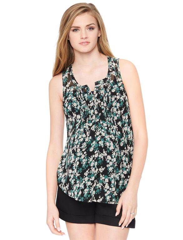 Pleated Maternity Tank, Blk/Wht Floral