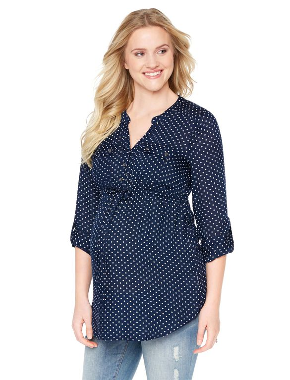 Tie Front Maternity Tunic- Navy Dot, Navy Dot