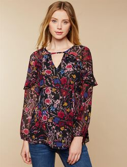 Floral Keyhole Detail Maternity Top, Black Floral