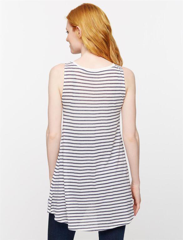 Striped Maternity Tunic- Navy/White, Navy/White