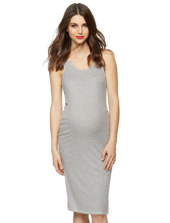 Racerback Maternity Dress, Grey