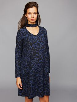 Soon Hayden High Collar Maternity Dress, Leopard Print
