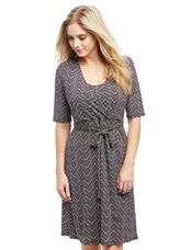 Wrap Nursing Dress- Geo Print, Geo Print