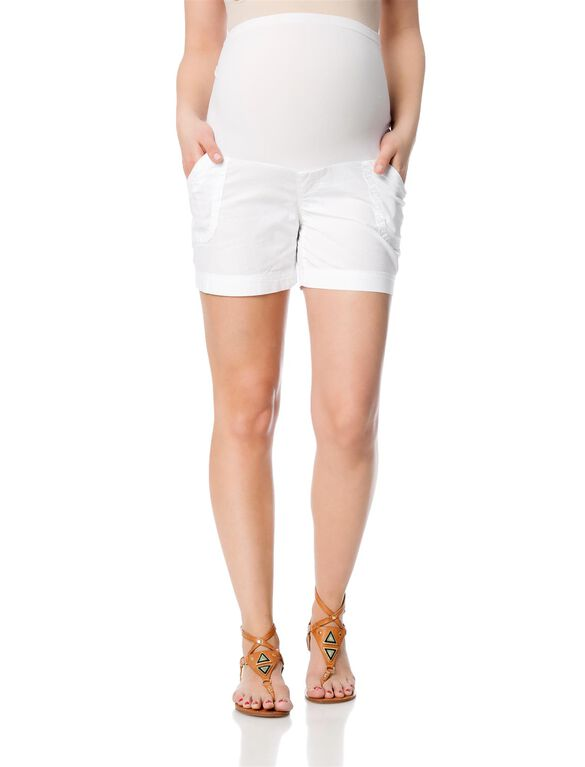Secret Fit Belly Poplin Cargo Maternity Shorts, White