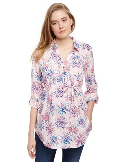 Front Pocket Maternity Shirt, Confetti Dot