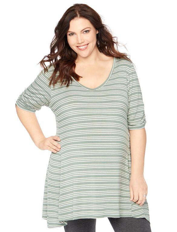 Plus Size Hanky Hem Maternity Tunic, Olive/Oat Stripe