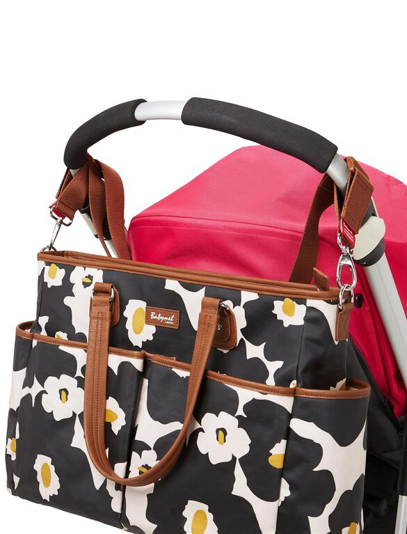 Babymel Bella Diaper Bag– Black Floral, Black