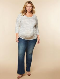 Plus Size Secret Fit Belly Pocket Detail Boot Cut Maternity Jeans, Dark Wash