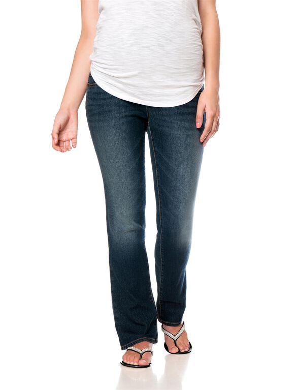 Motherhood Indigo Blue Petite Skinny Boot Maternity Jeans, Dusted Medium Wash