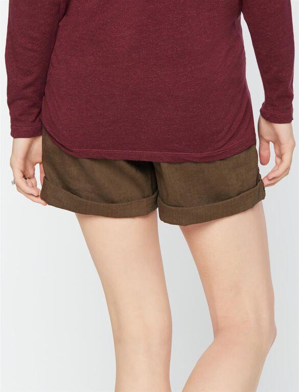 Under Belly Linen Maternity Shorts, Dark Moss