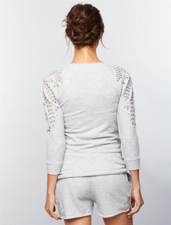 Eyelet Maternity Sweatshirt, Heather Grey