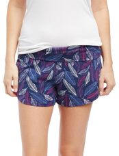Slim Fit Maternity Sleep Shorts- Feather Print, Feather Print
